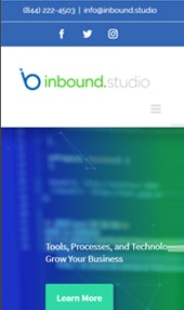 iphone sized image of inbound studio homepage