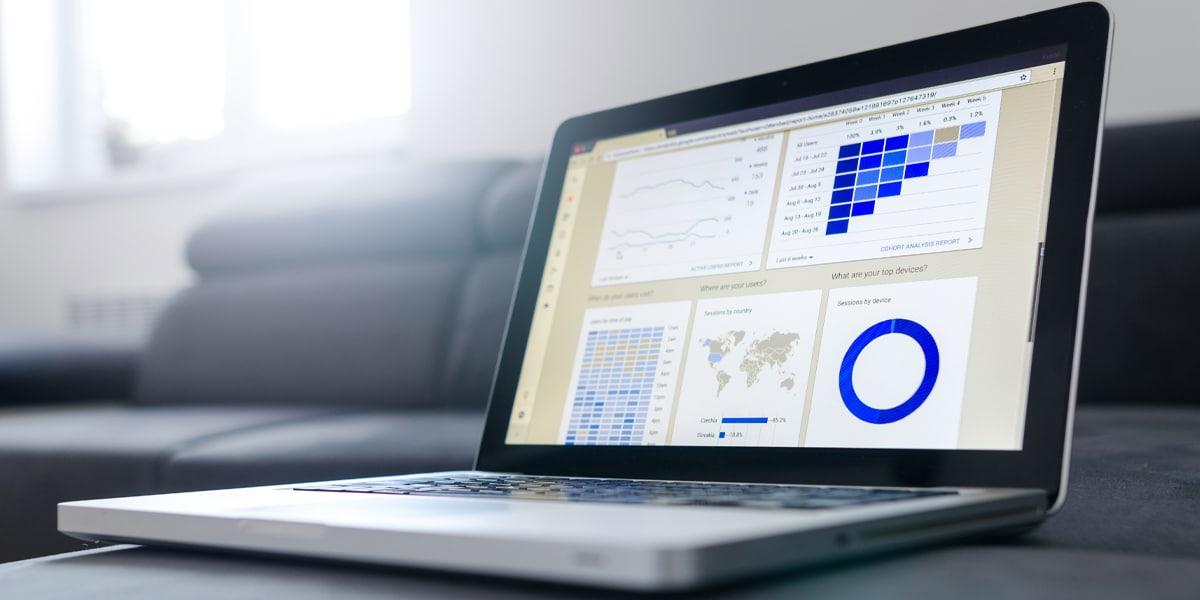Laptop showing website data